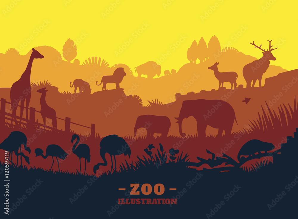 Fototapeta Zoo world illustration background, colored silhouettes elements, flat