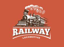 Locomotive Logo Illustration, Vintage Style Emblem