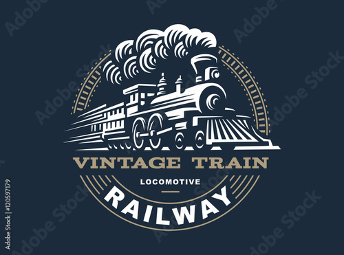 Locomotive logo illustration, vintage style emblem Wallpaper Mural