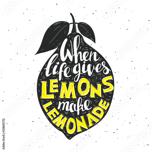 Staande foto Positive Typography Hand drawn typography poster. Lemon with inscription