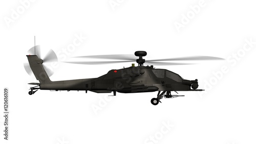 armed longbow apache helicopter in flight isolated on white Wallpaper Mural