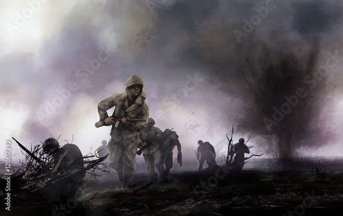 Fototapeta American soldiers on battlefield