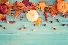 Pumpkins, Apple And Hazelnuts Over Autumn Leafs