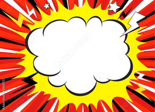 Comic book explosion superhero pop art style radial lines background. Manga or anime speed frame - 120621727