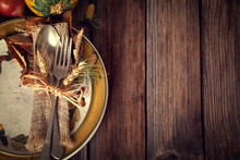 Autumn Place Setting - On Rustic Wooden Table