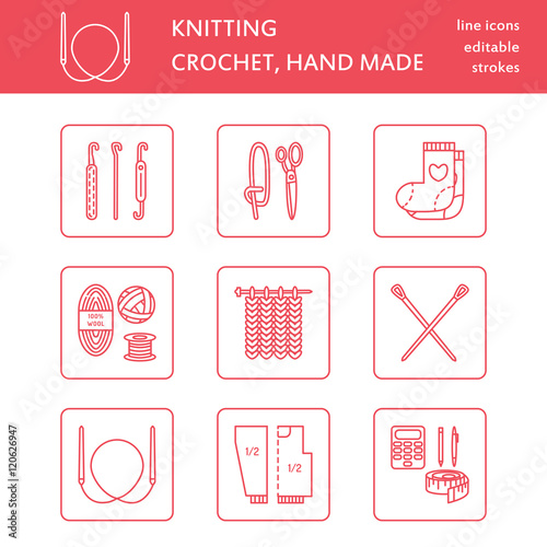 Modern Vector Line Icons Set Of Knitting And Crochet Hand Made Elements Yarn Knitting Needle Knitting Hook Pin And Others Outline Knitting Symbol Collection For Invitations Notes Sites Banner Buy This