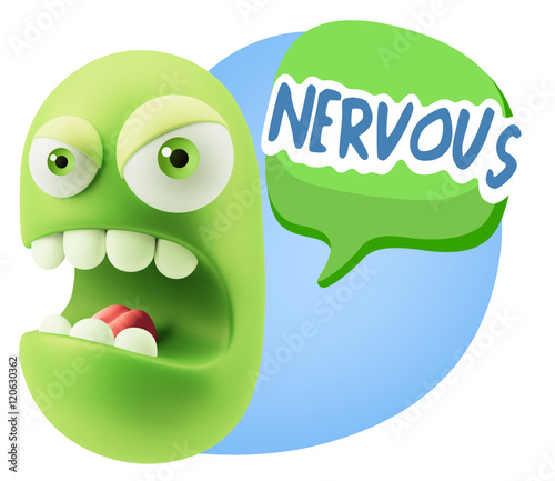 3d Rendering Angry Character Emoji saying Nervous with Colorful