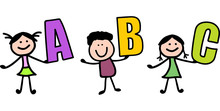 Smart Little Child Holding ABC