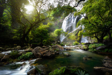 Mountain Stream And Waterfall In The Autumn, Khlong Lan National Park, Kamphaeng Phet Province, Thailand