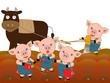 農作業をする牛と豚