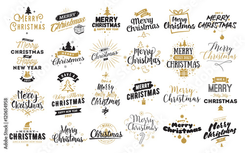Cuadros en Lienzo Merry Christmas typographic emblems set.