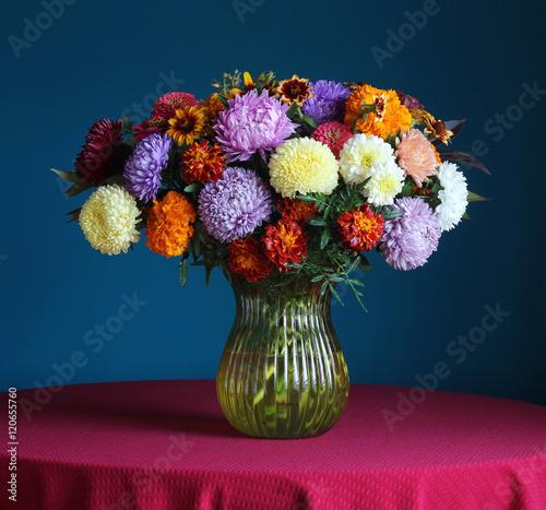 Autumn bouquet of garden flowers. - 120655760