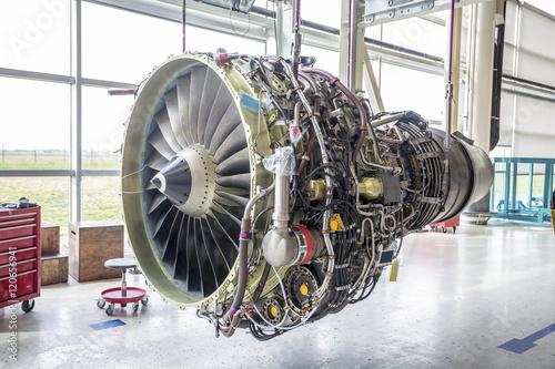 Obraz na płótnie Big airplane engine during maintenance
