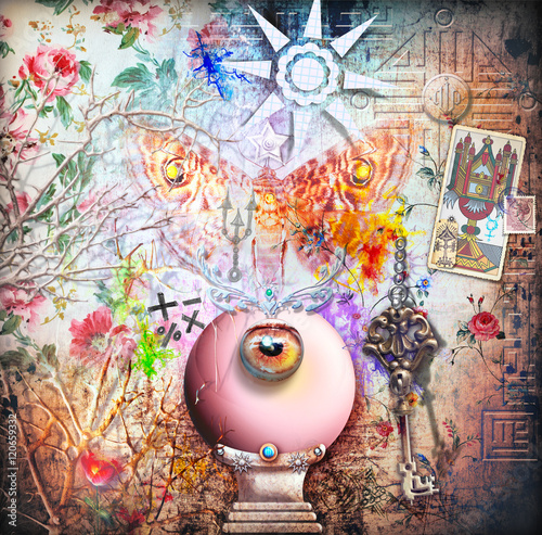 Staande foto Imagination Collage background with magic crystal ball and moth