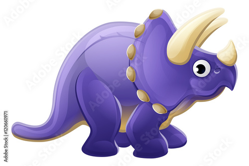 Photo  Cute Cartoon Dinosaur Triceratops