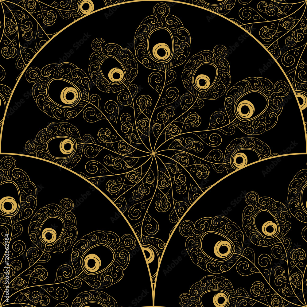Art deco pattern vector seamless with peacock feathers hat. Gold black scale ornament. Oriental background for card, fabric, web design, wrapping paper, wedding invitation, flyer and banner.