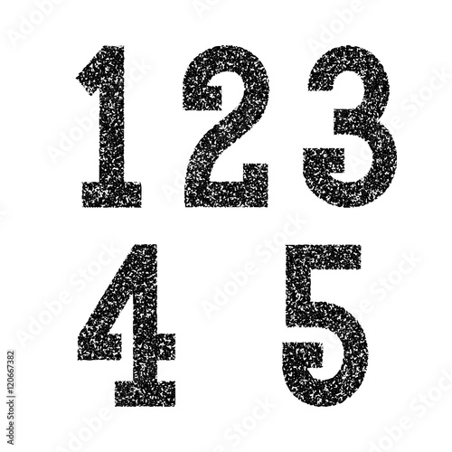 One Two Three Four Five Black Stencil Spray Paint Numbers Font