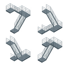Isometric Staircase. Vector Se...