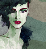 Stylowy kobieta portret. Streszczenie ilustracja akwarela moda - 120672558