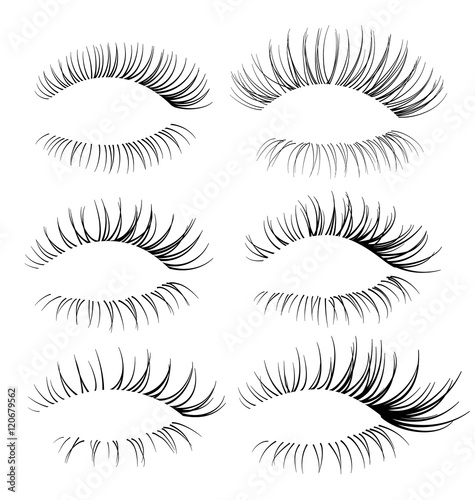 Set of eyelash brushes. Eyelash texture Fototapeta