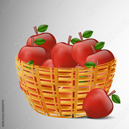 Photo  Illustration of Apples filled in a basket for Applejack Month
