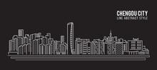 Cityscape Building Line Art Vector Illustration Design - Chengdu City