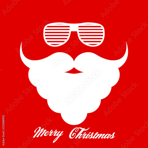 Santa Claus S Beard And Hipster Glasses Template For Christmas