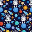 Seamless cartoon space pattern - rabbit astronaut, spaceship, planets, satellites