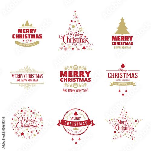 Vector Christmas design elements. Merry Christmas vintage labels ...