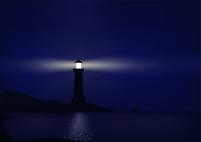 Lighthouse Is Coastal At Night