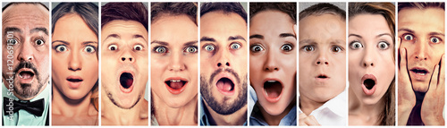 Surprised shocked people. Human emotions reaction Fototapet