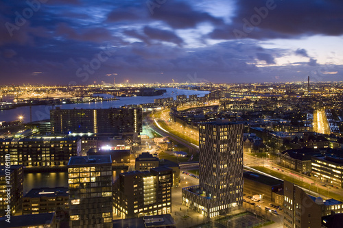 Aerial view of Rotterdam from Euromast tower, dusk, Rotterdam, The Netherlands
