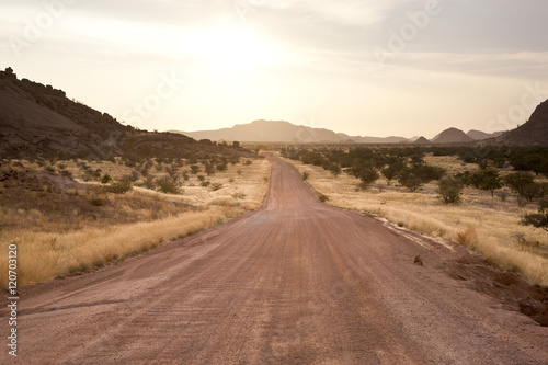 African dirt road, sunset, Namibia