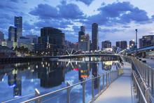South Wharf Skyline At Dawn, Melbourne, Victoria, Australia