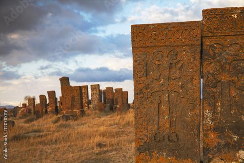 Armenia, Lake Seven, Khachkars at Noratus cemetery Poster