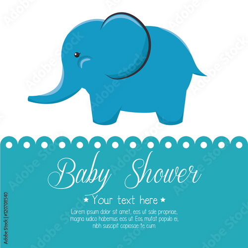 card baby shower elephant cute isolated vector illustration eps 10 Wallpaper Mural