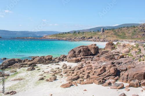 Tropischer Strand an der Playa de Pindo Galicien (Galicia) A Coruña Spanien