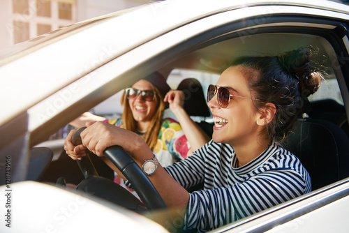 Fotografie, Obraz  Laughing young girlfriends traveling in a car
