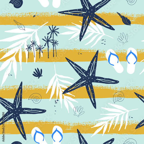 lato-bezszwowy-wzor-z-seashell-gwiazda-i-palma-na-szczotkarskim-uderzenia-tle