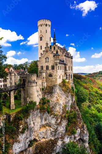 Foto op Plexiglas Kasteel Beautiful casles of Europe - impressive Lichtenstein castle over the rock