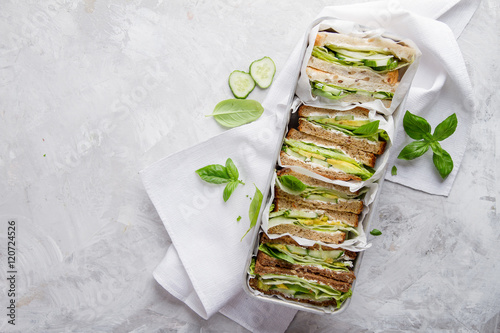 Healthy rye and wholemeal sandwich with vegetables