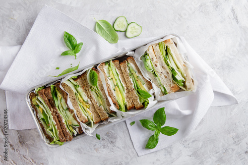 Foto op Canvas Snack Healthy rye and wholemeal sandwich with vegetables