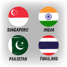 Set Of 4 Flags - Round Icons -...