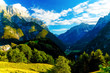 Beautiful summer landscape. Slovenia mountain and valley.