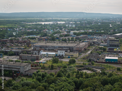 Foto op Aluminium The view from the window of the plane of the city of Petropavlovsk-Kamchatsky in Russia