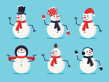 Set Of Six Snowmen Isolated On...