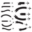 Flying plane with banner, icons set, black isolated on white background, vector illustration.
