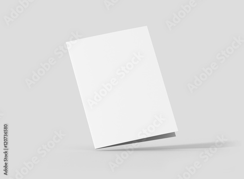 Photorealistic A5 Bifold Brochure Mockup Closed Frontside On Light Grey Background 3D Illustration