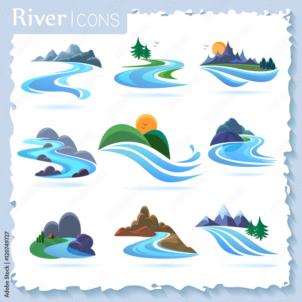 Fototapety, obrazy: River and landscape icons
