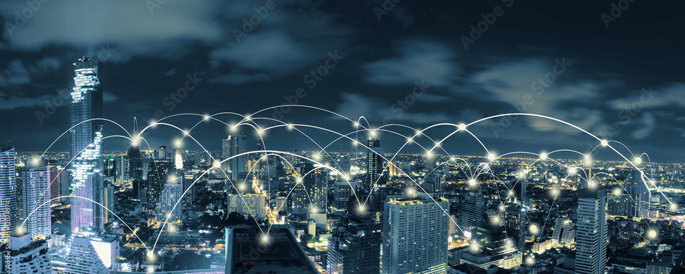 Fototapety, obrazy: Wifi icon and city scape and network connection concept, Smart city and wireless communication network, abstract image visual, internet of things